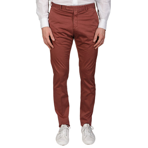 BOGLIOLI Milano Burgundy Cotton Flat Front Slim Fit Casual Pants NEW US 31