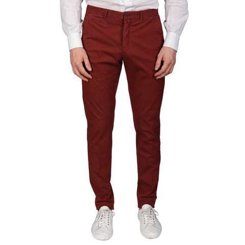 BOGLIOLI Milano Crimson Cotton Twill Flat Front Slim Fit Casual Pants NEW
