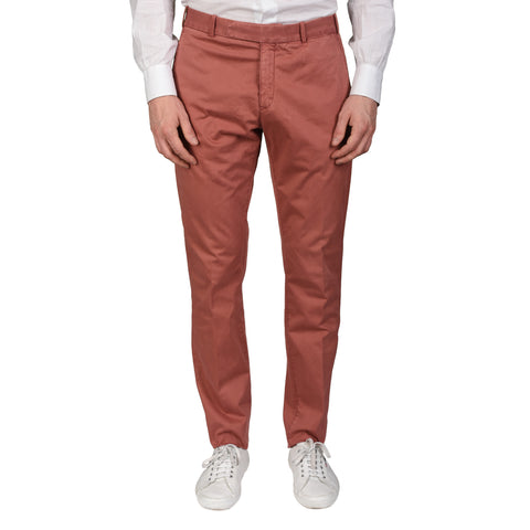 BOGLIOLI Milano Crimson Cotton Twill Flat Front Slim Fit Pants NEW