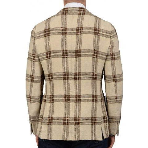 "BOGLIOLI Milano ""Dover"" Beige Plaid Linen Unlined Blazer Jacket EU 48 NEW US 38"