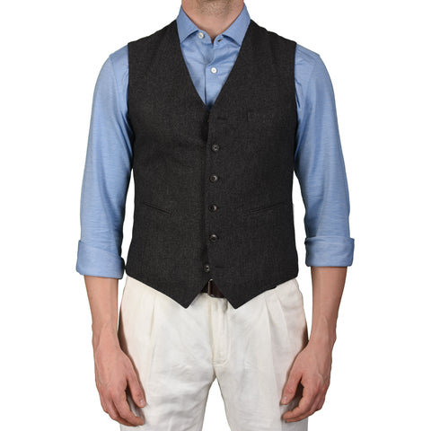 BOGLIOLI Milano Gray Wool Flannel 6 Button Vest Waistcoat EU 48 NEW US 38