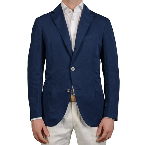 "BOGLIOLI Milano ""K. Jacket"" Blue Linen-Cotton Unlined Blazer Jacket EU 52 NEW US 42"