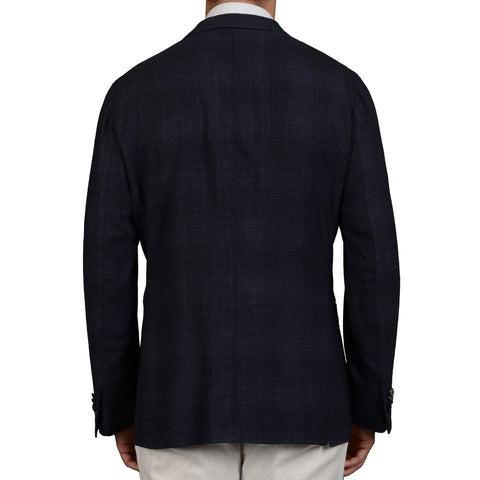"BOGLIOLI Milano ""K. Jacket"" Blue Plaid Wool-Linen Unlined DB Jacket 56 NEW US 46"