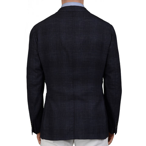 "BOGLIOLI Milano ""K. Jacket"" Dark Blue Plaid Wool Linen Unlined Jacket 50 NEW 40"