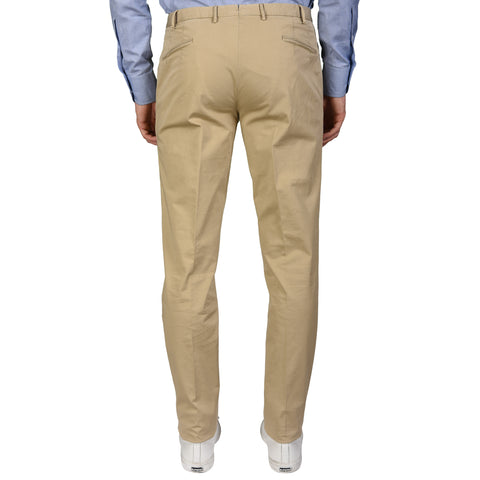 "BOGLIOLI Milano ""Wear"" Beige Cotton Twill Flat Front Slim Fit Pants 50 NEW US 34"