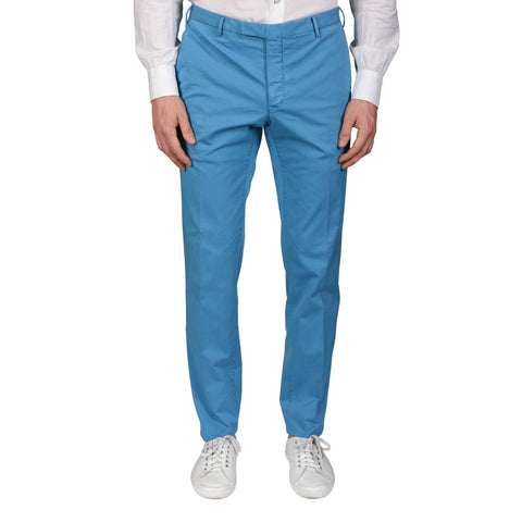 "BOGLIOLI Milano ""Wear"" Blue Cotton Twill Flat Front Slim Fit Pants NEW"