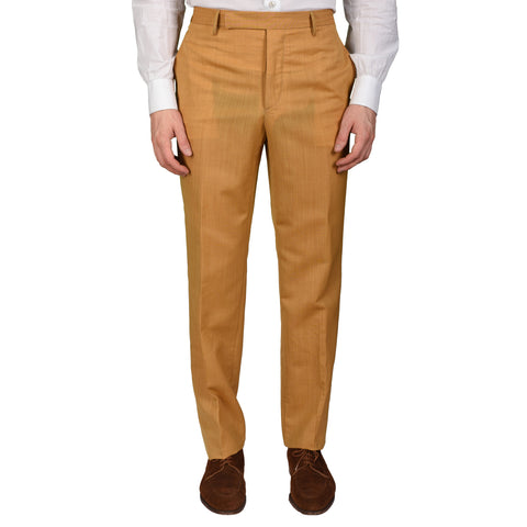 "BOGLIOLI Milano ""Wear"" Tan Wool-Mohair Flat Front Pants EU 48 NEW US 32"