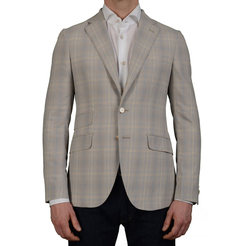 "BOGLIOLI Milano ""York"" Gray-Beige Plaid Cotton Blazer Jacket EU 48 NEW US 38"