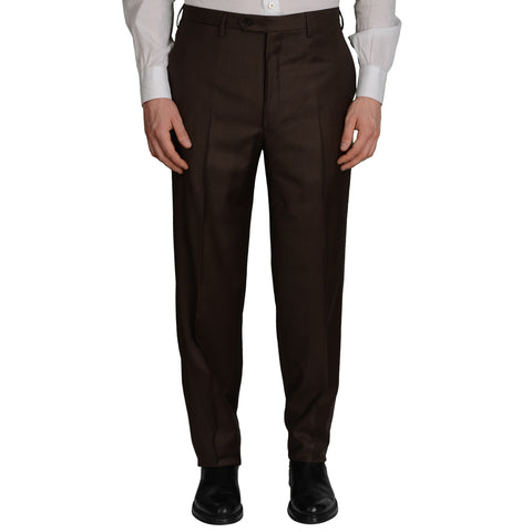 D'AVENZA Roma Brown Wool Flat Front Dress Pants EU 50 NEW US 34 Classic Fit