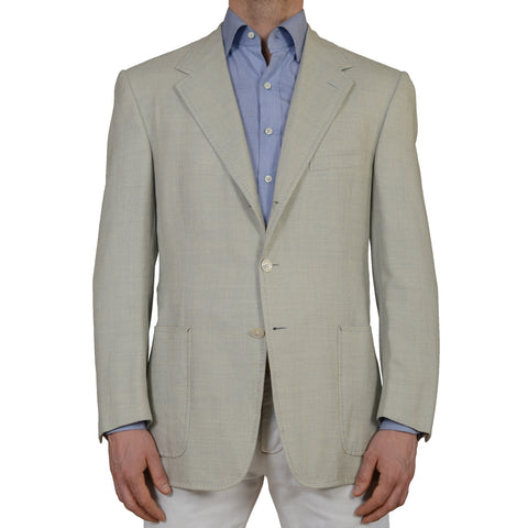D'AVENZA Roma Handmade Light Blue Wool-Silk-Linen Blazer Jacket EU 52 NEW US 42