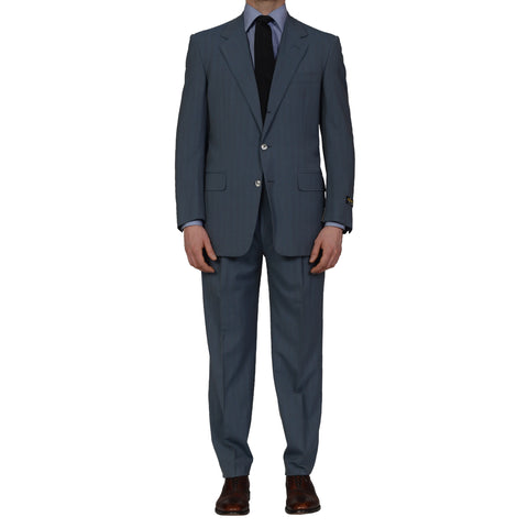 D'AVENZA Roma Handmade Blue Striped Wool Suit EU 51 NEW US 41
