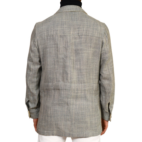 "D'AVENZA ""BANDERAS"" Gray Wool Silk Linen Field Jacket Leather Trims 50 NEW M"
