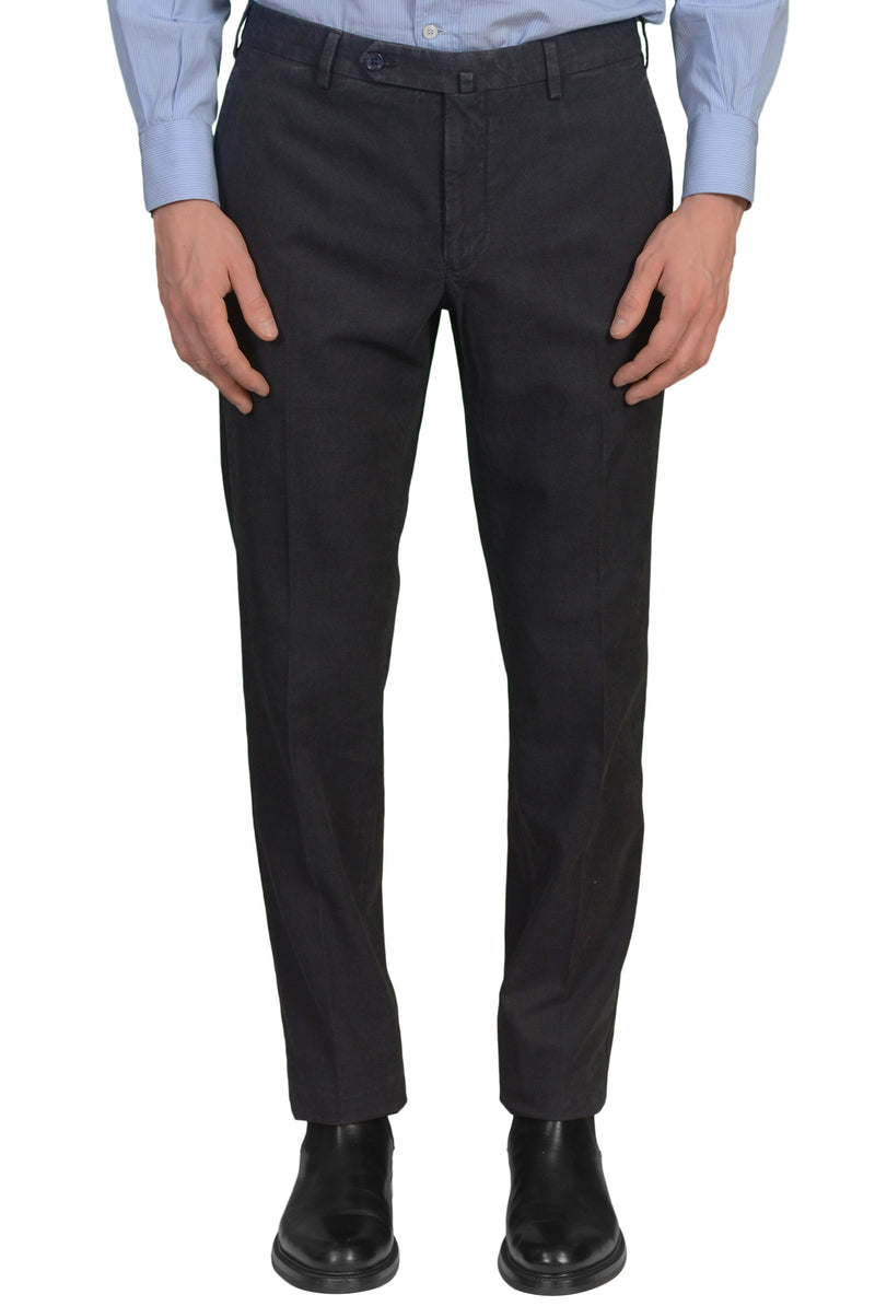 INCOTEX (Slowear) Anthracite Cotton Flat Front Slim Fit Pants NEW