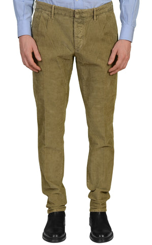 INCOTEX (Slowear) Slacks Olive Green Cotton Corduroy Stretch Skin Fit Casual Pants NEW