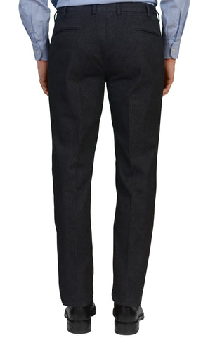 INCOTEX (Slowear) Black Cotton Twill Stretch Flat Front Slim Fit Pants NEW