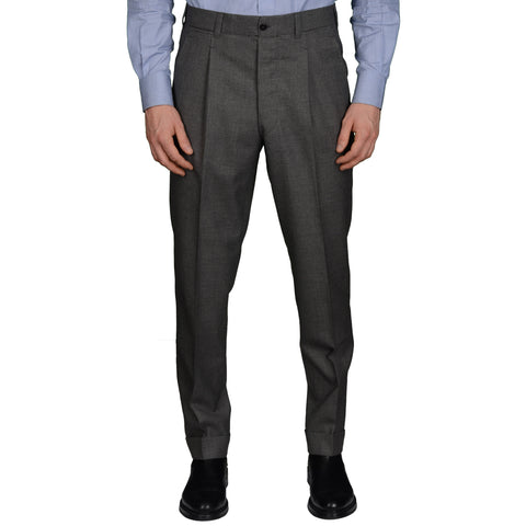 AMBROSI Napoli Bespoke Gray Wool Holland & Sherry SP Dress Pants 50 NEW US 34