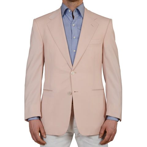 AMIR by D'AVENZA Handmade Pink Wool Super 120's Blazer Jacket EU 50 NEW US 40