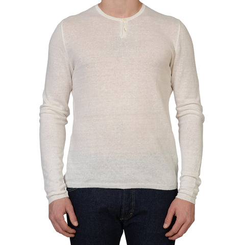 ANDERSON & SHEPPARD White Linen Long Sleeves Henley Neck T- Shirt NEW L