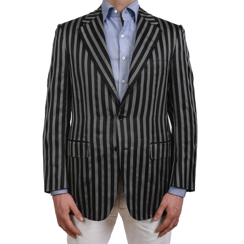 BIJAN Beverly Hills Handmade Black Striped Silk Blazer Jacket EU 64 NEW US 54