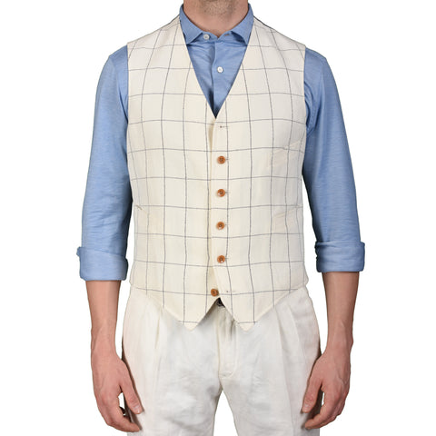 "BOGLIOLI ""Dover"" Off-White Plaid Cotton-Linen 6 Button Vest Waistcoat 50 NEW 40"