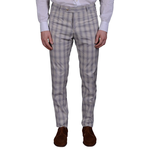 BOGLIOLI Milano Beige-Gray Plaid Cotton Slim Fit Pants EU 48 NEW US 32