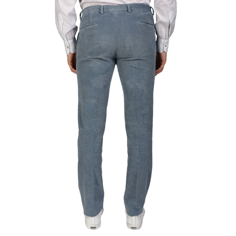 BOGLIOLI Milano Blue Cotton Corduroy Flat Front Slim Fit Pants NEW