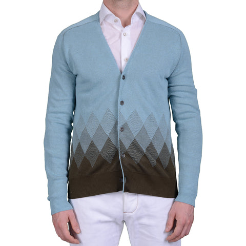 BOGLIOLI Milano Blue Cotton Knitted Cardigan Sweater NEW Size M