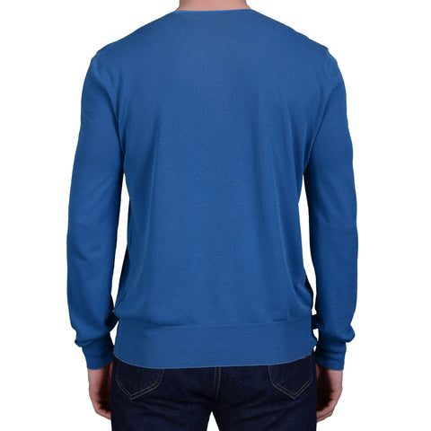 BOGLIOLI Milano Blue Cotton V-Neck Sweater NEW Size M Defect