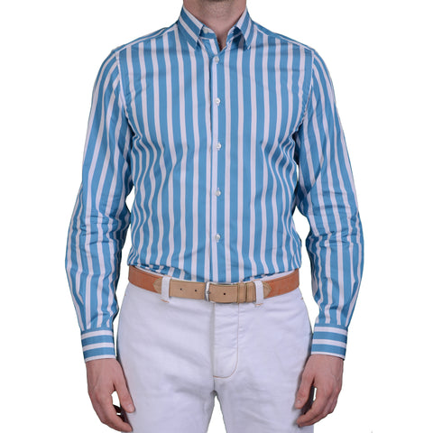 BOGLIOLI Milano Blue Striped Cotton Dress Shirt EU 40 US 15.75 Slim Fit
