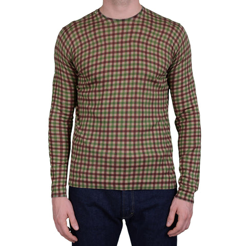 BOGLIOLI Milano Brown-Green Plaid Cotton Long Sleeve T-Shirt NEW Size L
