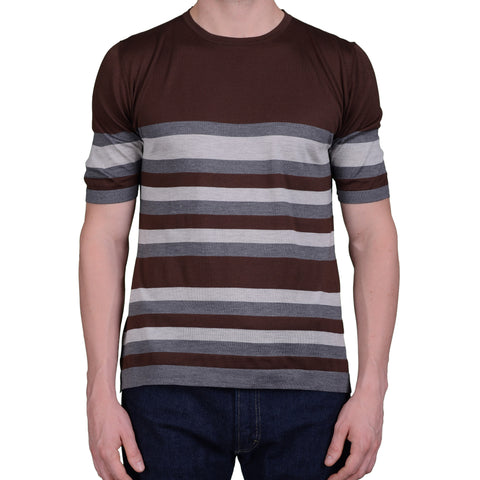 BOGLIOLI Milano Brown Striped Silk Short Sleeve T-Shirt NEW Size M