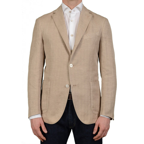 "BOGLIOLI Milano ""Coat"" Beige Herringbone Cotton-Linen Unlined Jacket 50 NEW US 40"