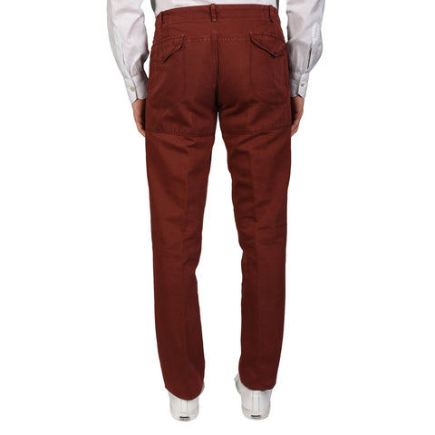 "BOGLIOLI Milano ""Coat"" Burgundy Cotton-Linen Slim Fit Casual Pants 50 NEW US 34"