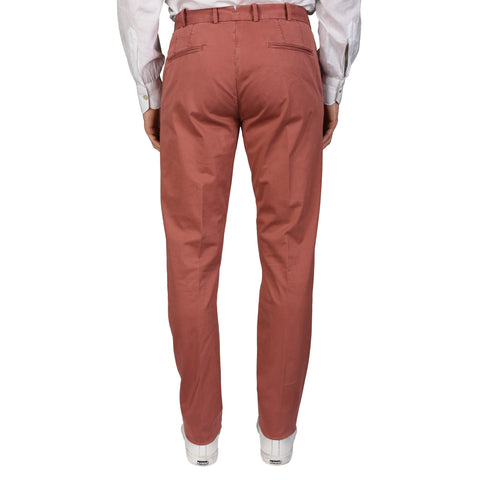 BOGLIOLI Milano Burgundy Cotton Twill Flat Front Slim Fit Pants NEW