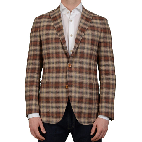 "BOGLIOLI Milano ""Dover"" Beige Plaid Linen-Silk Unlined Blazer Jacket 50 NEW 40"