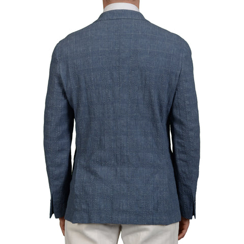 "BOGLIOLI Milano ""Dover"" Blue Plaid Wool-Linen-Silk Seersucker Jacket 50 NEW 40"