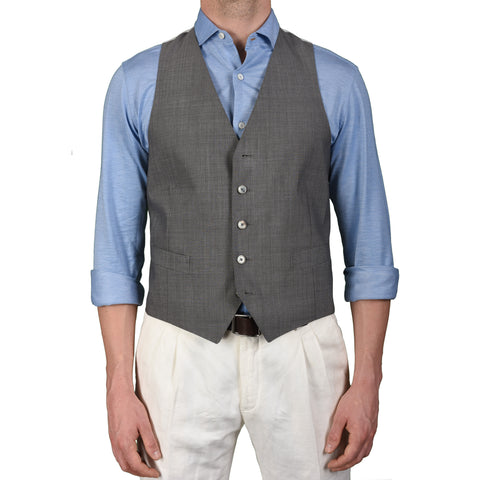 BOGLIOLI Milano Gray Wool-Silk 5 Button Vest Waistcoat EU 50 NEW US 40