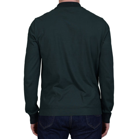 BOGLIOLI Milano Green Cotton Long Sleeve Polo Shirt NEW Size M