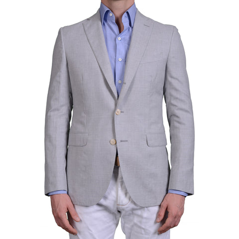 "BOGLIOLI Milano ""Hampton"" Light Gray Wool-Silk Blazer Jacket EU 50 NEW US 40"