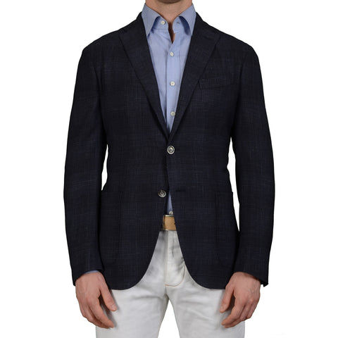 "BOGLIOLI Milano ""K. Jacket"" Dark Blue Plaid Wool Linen Unlined Jacket 54 NEW 44"