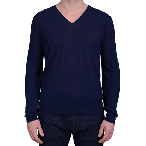 BOGLIOLI Milano Navy Blue Cotton V-Neck Sweater NEW Size L