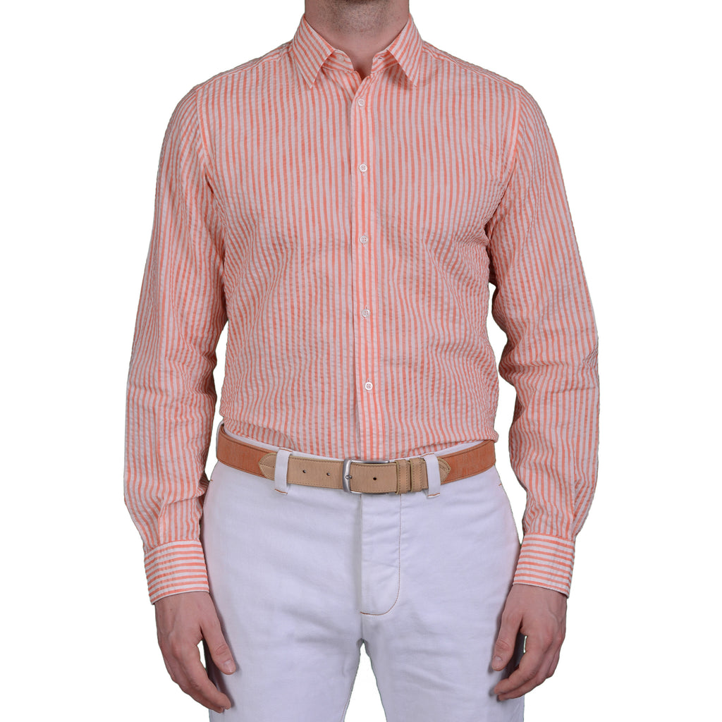 BOGLIOLI Milano Orange Striped Cotton Seersucker Shirt 40 NEW US ... fd9645d97b6e