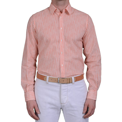 BOGLIOLI Milano Orange Striped Cotton Seersucker Shirt 40 NEW US 15.75 Slim Fit