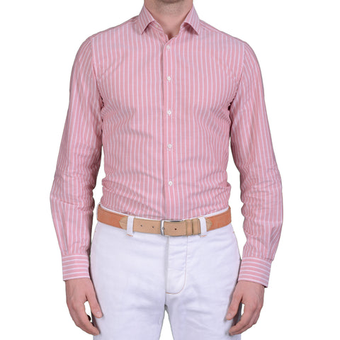 BOGLIOLI Milano Pink Striped Cotton Dress Shirt EU 40 NEW US 15.75 Slim Fit
