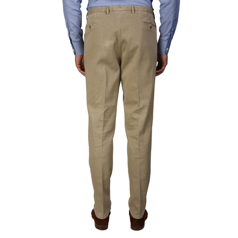 "BOGLIOLI Milano ""Wear"" Beige Cotton Flat Front Slim Fit Pants EU 56 NEW US 40"