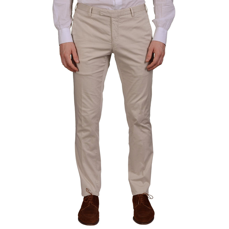 "BOGLIOLI Milano ""Wear"" Beige Cotton Twill Flat Front Slim Fit Pants 56 NEW US 40"