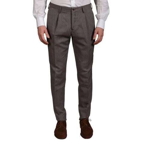 "BOGLIOLI Milano ""Wear"" Brown Geometric Cotton-Linen SP Pants EU 50 NEW US 34"