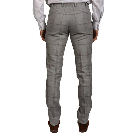 "BOGLIOLI Milano ""Wear"" Gray Plaid Silk-Linen Flat Front Pants EU 48 NEW US 32"