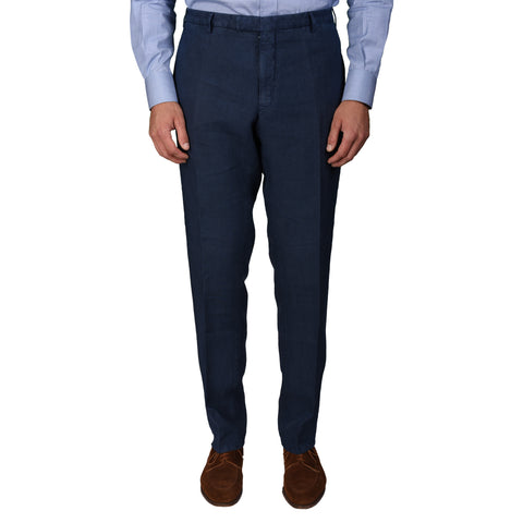 "BOGLIOLI Milano ""Wear"" Navy Blue Linen Straight Fit Pants EU 56 NEW US 40"