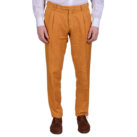 "BOGLIOLI Milano ""Wear"" Orange Herringbone Cotton-Linen DP Pants EU 48 NEW US 32"